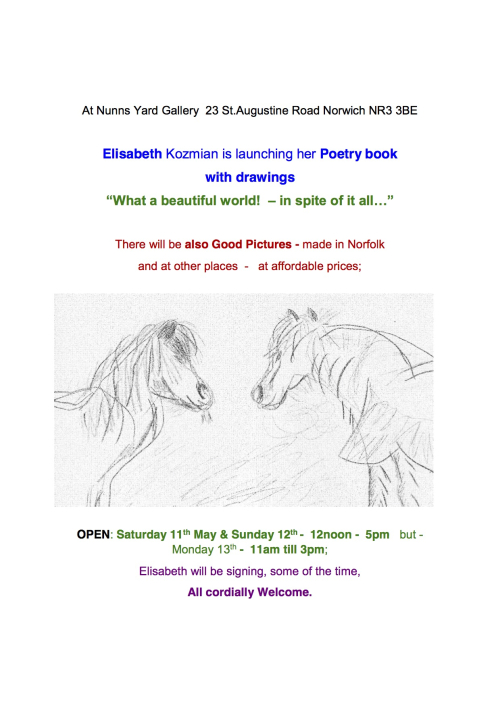 Invitation from Elisabeth Kozmian to the launch of her Poetry book with drawings xx3 copy